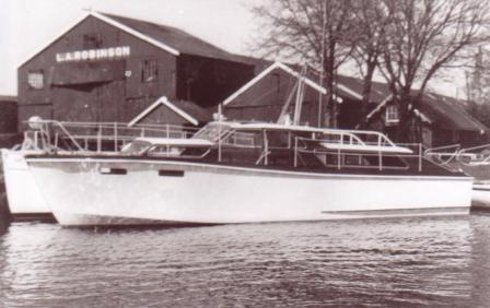 Santa Cristina/Recama in 1965 in front of L.A. Robinson's Boatyard