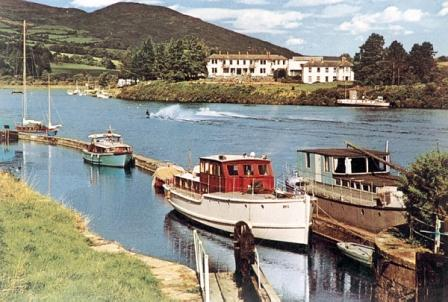 Boats at Killaloe Lock 1960s from Clare Library Collection