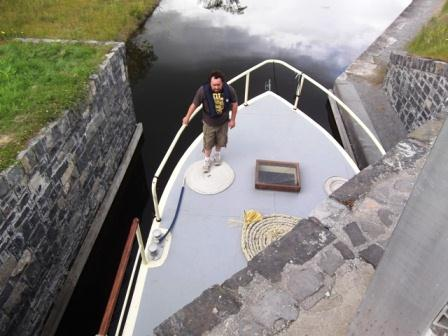 08W It might just fit - Evan on the bow of Barge Rambler at Longford BJT 011.jpg