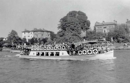 Wroxham Belle near Surbiton on the Thames 1950s